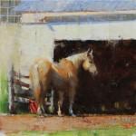 Elizabeth Pollie, Standing Alone, oil, 12 x 12.