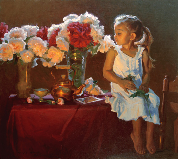 Mike Malm, Ella's Flowers, oil, 35 x 40.