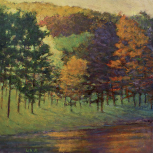 Color at the Lake's Edge, oil, 36 x 36.