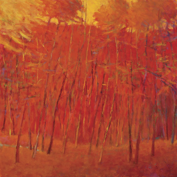 Enveloped in Red, oil, 36 x 36.