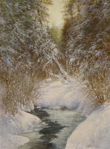 Pem Dunn, Enchanted Winter Forest, oil, 24 x 18.