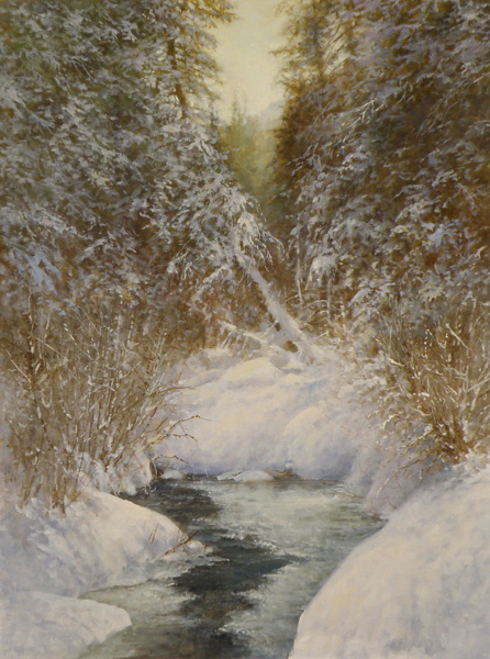 Pem Dunn, Enchanted Winter Forest, oil, 24 x 18.