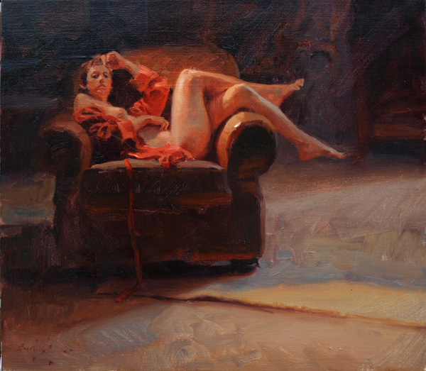 Kim English, Red Robe, oil, 16 x 18.