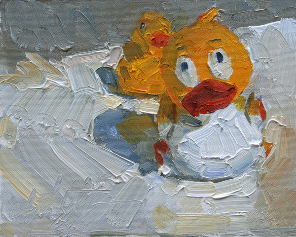 Clyde Steadman, Escape From the Tub, oil painting
