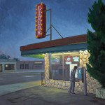 Escondido Liquor Store Nocturne, oil, 12 x 12.