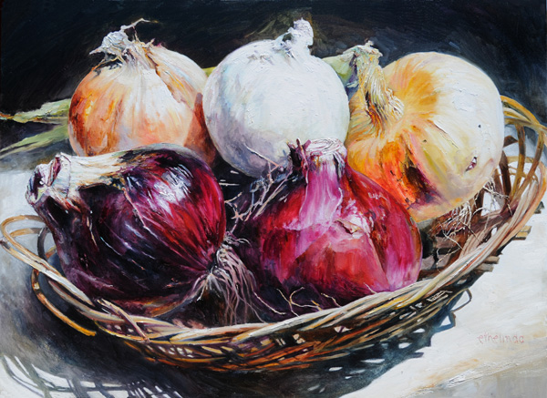 Ethelinda, Galisteo Onions, oil painting
