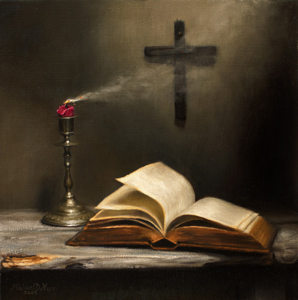 Michael DeVore, Extinguished, oil, 18 x 18.