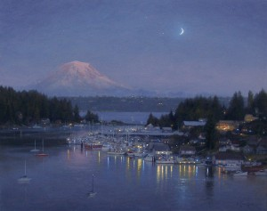 Ezra Suko, Gig Harbor, Evening Reflection, oil, 24 x 30.