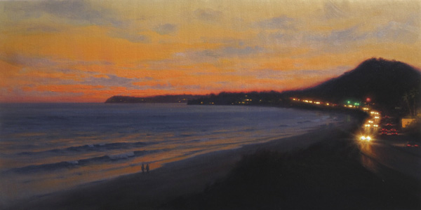 Ezra Suko, Malibu Sunset, oil, 15 x 30.