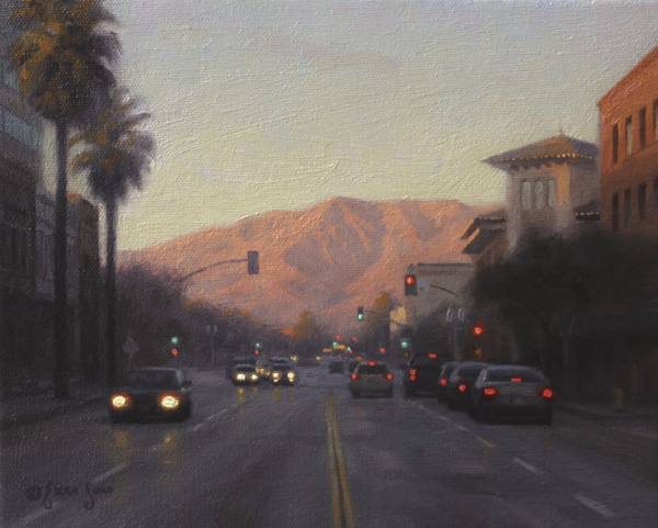 Ezra Suko, Pasadena Evening Light, oil, 8 x 10.