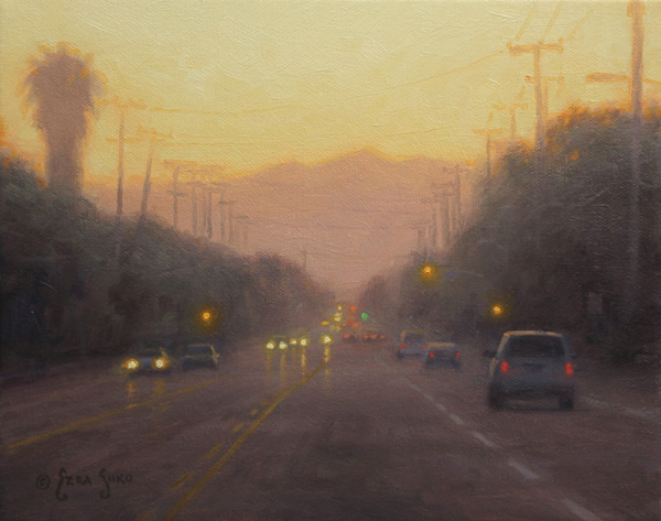 Ezra Suko, The Road Ahead, oil, 8 x 10.