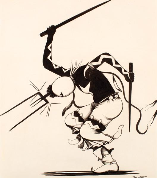 Allan Houser, Apache Gans Dancer, pen/ink, 14 x 12. Fred Jones Jr. Museum of Art; The University of Oklahoma, Norman. Courtesy of Allan Houser Inc.