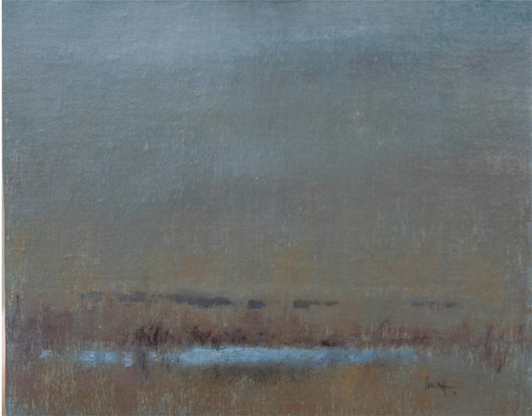 Nancy Bush, Foggy Pond, oil, 20 x 20.