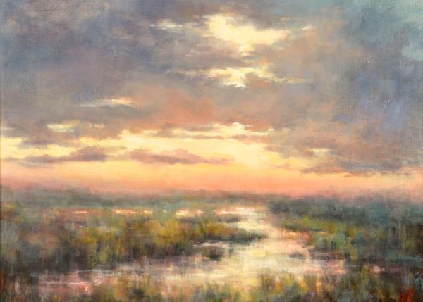 Judy Fuller, Sunrise Storm, oil, 18 x 24.