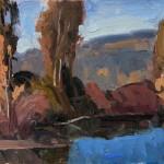 Eric Bowman, Fall Reflection, oil, 9 x 12.