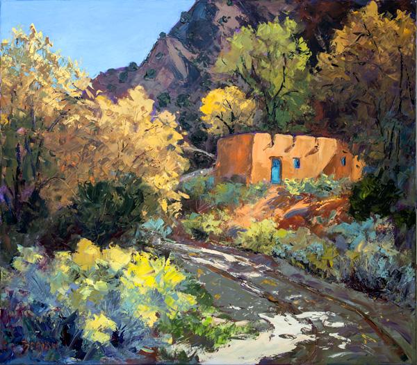 Evelyne Boren, Fall in Abiquiu, oil, 42 x 48.