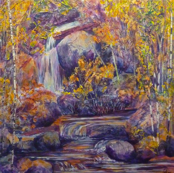 Lelija Roy, Falling Into Autumn, mixed media, 36 x 36.