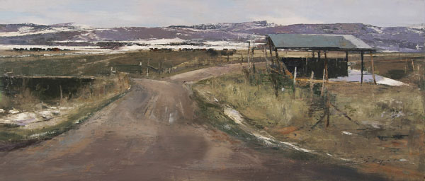Farm Near Hilltop, oil on panel, 12 x 28.