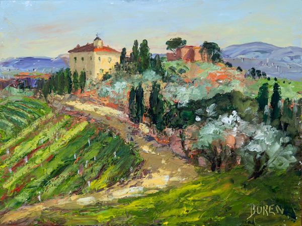 Evelyne Boren, Fatorio del Cerro, oil, 12 x 16.