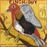 Melinda K. Hall, Finch-Guy, oil, 14 x 14.