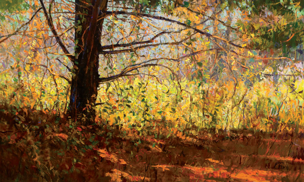 Peter Fiore, Autumn Ramble, oil, 36 x 60.