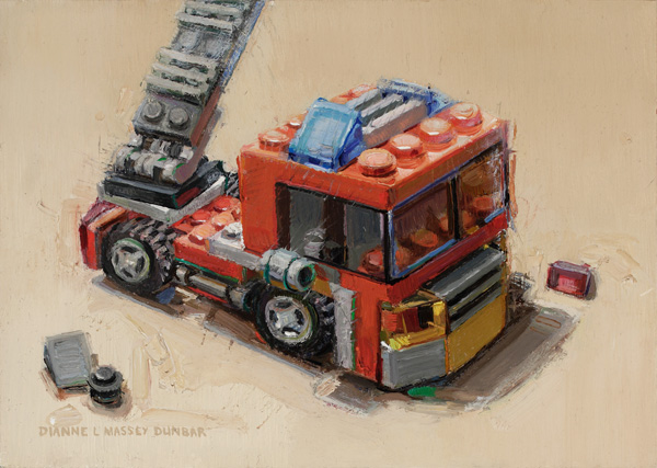 Dianne Massey-Dunbar, Fire Engine, oil, 5 x 7.