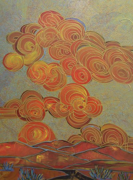 Jami Tobey, Firesky, acrylic, 48 x 36.