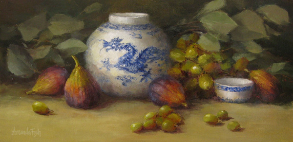 Amanda Fish, Figs with Dragon, oil, 8 x 16.