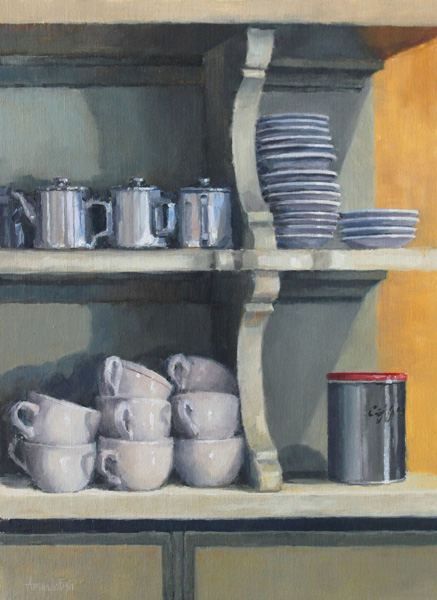 Amanda Fish, Le Café at Julienne, oil, 16 x 24.