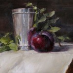 Amanda Fish, Plum with Silver Vase, oil, 6 x 8.