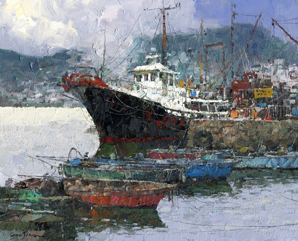 Xiao Song Jiang, Fishing Port, oil, 8 x 10.