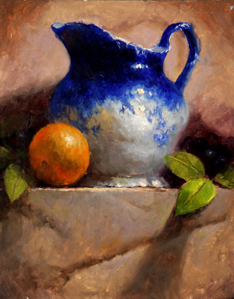 Kathy Tate, Flo Blue with Orange, oil, 14 x 11.