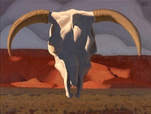 Logan Maxwell Hagege, Floating Skull at Vermilion Cliffs, oil, 30 x 40.
