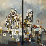 Britt Freda, Fly: Barred Owl and Emilia Earhart, diptych, acrylic/graphite, 48 x 24 each or 48 x 48.