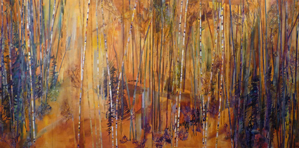 Lelija Roy, Following the Bears, mixed media, 36 x 144.