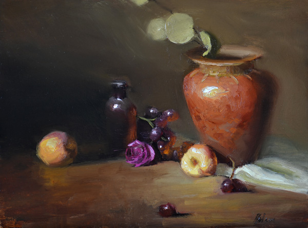Kelli Folsom, Terracotta and Peaches, oil, 9 x 12.