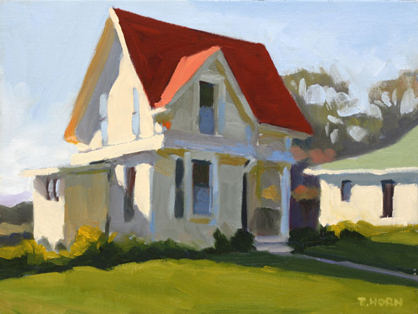 Tim Horn, Fort Mason Cottage, oil, 9 x 12.