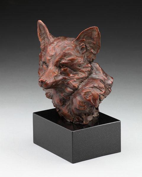 Fox Bust, bronze, 12 x 9 x 7.