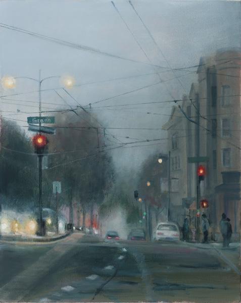 Barbara Fracchia, Foggy Evening, oil cityscape painting