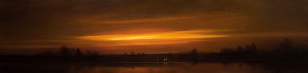 Renato Muccillo | Fraser River Dusk, oil, 12 x 48. Courtesy White Rock Gallery.