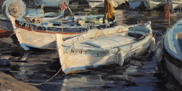 Derek Penix, French Fishing Harbor, oil painting