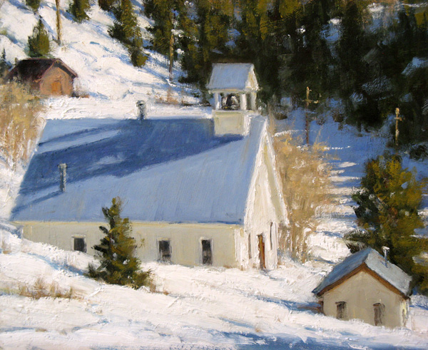Carol Jenkins, Fresh Snow, oil, 16 x 20.