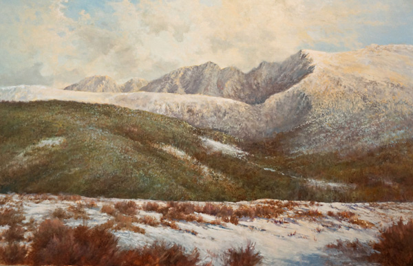 Pem Dunn, Fresh Snow on the Divide, oil, 24 x 36.