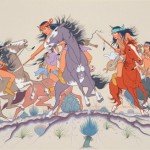 Allan Houser, Fresh Trail, Apache War Party, watercolor. Philbrook Museum of Art, Tulsa, Oklahoma, museum purchase.