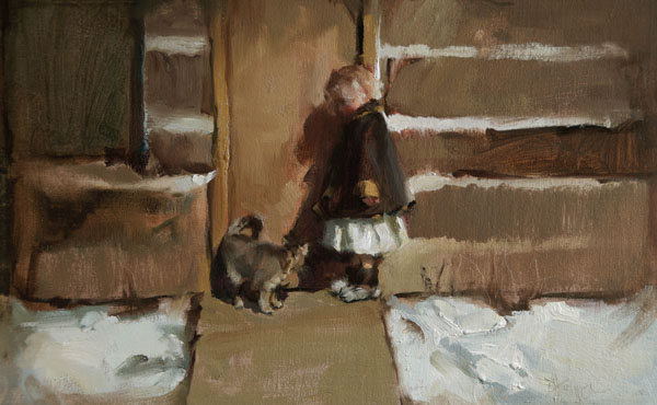 Johanna Harmon, Friends, oil, 10 x 16.