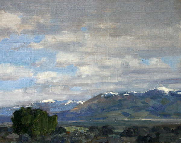 From the Rio Grande's Plateau, oil, 8 x 10.