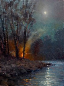Jason Sacran, Full Moon Night, oil, 16 x 12.
