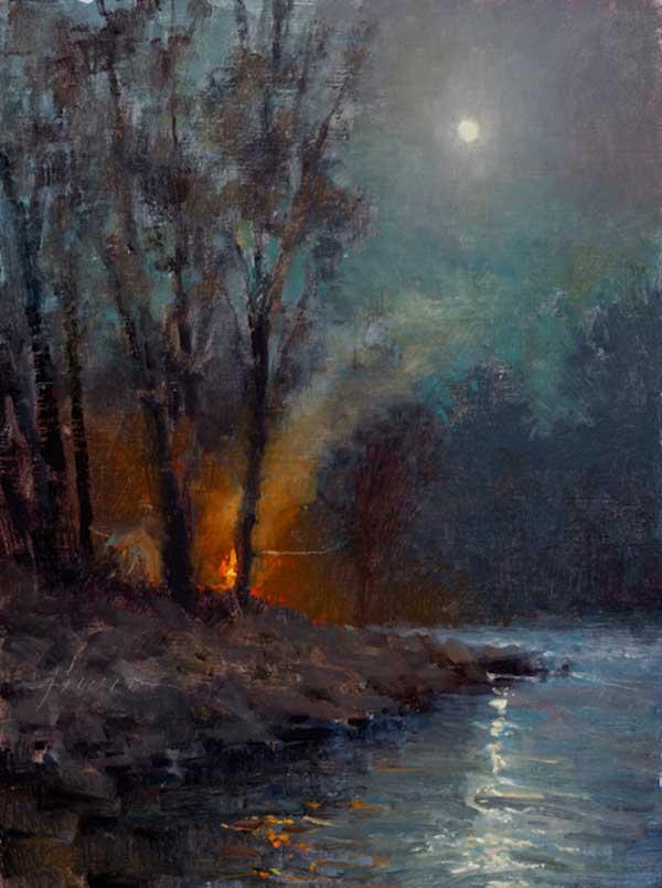 Jason Sacran, Full Moon Night, oil, 16 x 12.