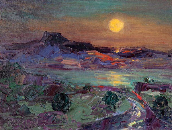 Evelyne Boren, Full Moon Over Abiquiu Lake, oil, 30 x 36.