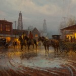 G. Harvey, Beginning of a Boomtown, 1981, oil, 30 x 48. Estimate: $70,000-$100,000.